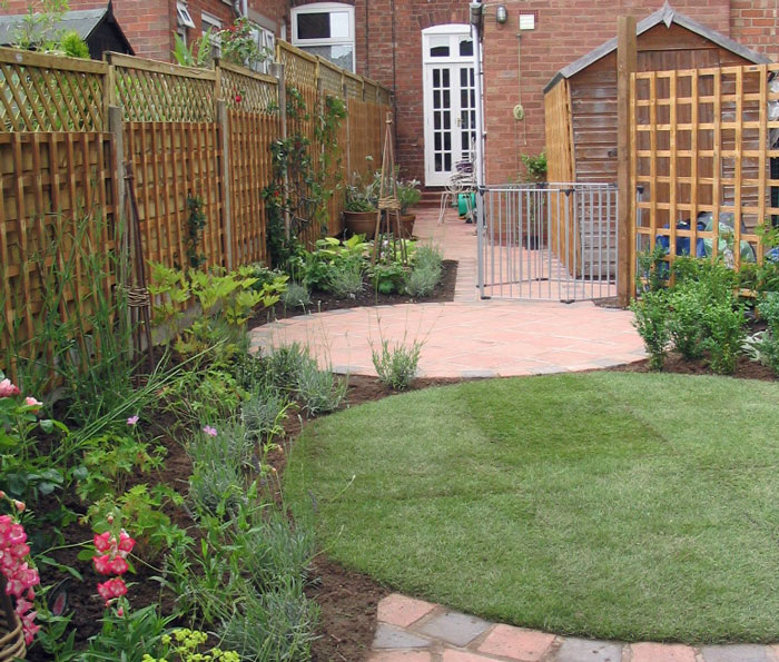 a small garden combining space for adults and children to